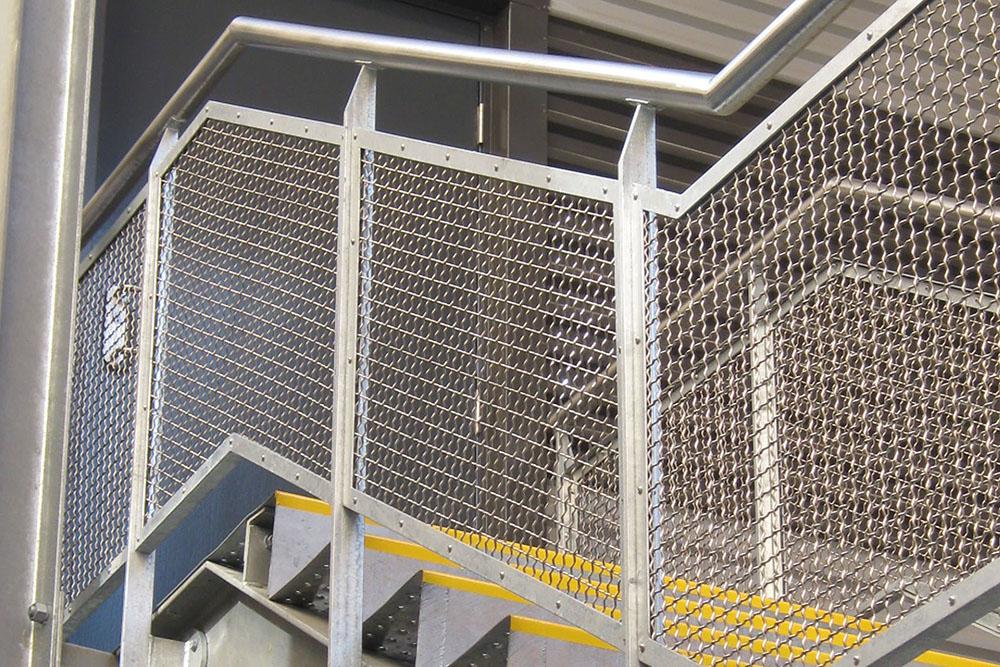 metal mesh stair railing